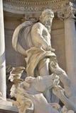 Neptun huvudsaklig staty av Trevi-springbrunnen i Rome, vid den Nicola Salvi arkitekten Royaltyfria Foton