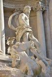 Neptun huvudsaklig staty av Trevi-springbrunnen i Rome, vid den Nicola Salvi arkitekten Arkivbild