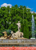 Neptun-Kampfwagen-Pferdestatuen-Brunnen in Madrid Stockfotos