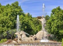 Neptun-Kampfwagen-Pferdestatuen-Brunnen Madrid Spanien Lizenzfreie Stockfotos