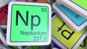Neptun Np blokuje na stosie okresowy stół chemicznych elementów bloki świadczenia 3 d Fotografia Stock
