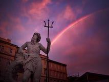 Neptun och regnbågen Arkivfoto