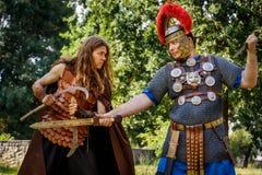 NEPTUN RUMÄNIEN - JULI 28, 2015 - forntida festival - Reenactment Royaltyfri Foto