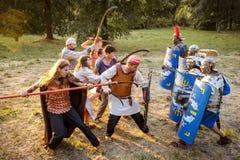 NEPTUN RUMÄNIEN - JULI 28, 2015 - forntida festival - Reenactment Fotografering för Bildbyråer