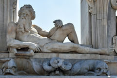 Neptun-Skulptur an der Seeseite Posillipo, Neapel, Italien Lizenzfreies Stockbild
