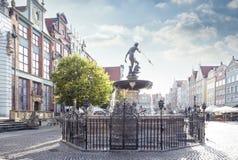Neptun springbrunn i Gdansk Arkivfoto