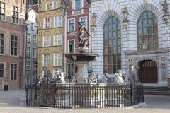 Neptun springbrunn i Gdansk, Polen Royaltyfri Bild