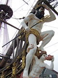 Neptun statue on a pirate ship. Wild Neptun looking forward - statue on a historical wooden pirate ship Stock Photography