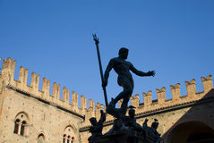 Neptune. Statue of Neptune by Giambologna in the central square of Bologna, Italy royalty free stock images