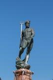 Neptune Bronze Statue with Trident Scepter Stock Photo