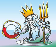 Neptune. Drawing fun Neptune in corona with trident has surfaced from epidemic deathes and gives life buoy Stock Photo