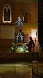Neptune fontann noc Fotografia Royalty Free