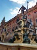 Neptune fontanna w Bologna, emilia, W?ochy obraz royalty free