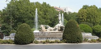 Neptune Fountain. The Neptune Fountain on the Plaza Canovas del Castillo Stock Photos
