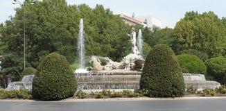 Neptune Fountain. The Neptune Fountain on the Plaza Canovas del Castillo stock photos