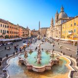Neptune fountain from above in Navona square, Rome, Italy stock image