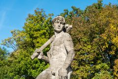 The Neptune Fountain in Alter Botanical Garden of Munich, Germany royalty free stock photos