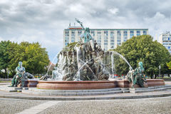 Neptune Fountain in Berlin Stock Image