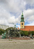 The Neptune Fountain in Berlin, Germany Stock Photo