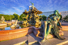 The Neptune Fountain in Berlin. At sunrise, Germany Royalty Free Stock Image