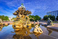 The Neptune Fountain in Berlin. At sunrise, Germany Stock Images