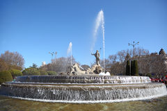 Neptune Fountain at Canovas del Castillo Square Stock Photos