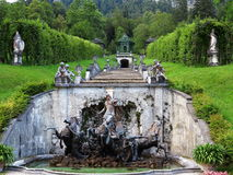 Neptune fountain with cascade and pergolas Royalty Free Stock Photo