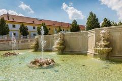 Neptune fountain at  castle Schloss Hof, Austria. Neptune fountain at  castle Schloss Hof in Lower Austria Stock Photo