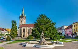 Neptune Fountain and Cathedral of Saint Nicholas in Presov, Slovakia Stock Image