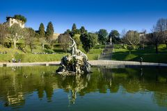 Neptune fountain in the center of the Boboli Gardens. Florence royalty free stock image