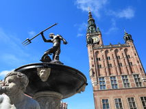 Neptune Fountain and city hall in Gdansk, Poland Stock Image