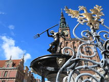 Neptune Fountain and city hall in Gdansk, Poland Stock Photography