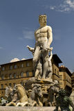 Neptune Fountain Florence Italy. Fountain of Neptune Florence Italy by sculptor Bartolomeo Ammannati 1565 AD. Aside from palazzo Vecchio in public view Stock Photos