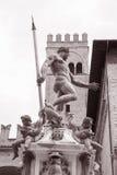 Neptune Fountain - Fontana del Nettuno; Bologna. Neptune Fountain - Fontana del Nettuno by Giambologna in 1566; Bologna; Italy in Black and White Sepia Tone royalty free stock photo