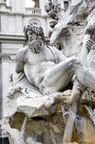 Neptune - Fountain of the Four Rivers. Detail of the Fountain of the Four Rivers - Piazza Navona - Rome Stock Images