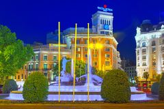 Neptune Fountain Fuente de Neptuno and The Westin Palace Hotel. Madrid, Spain - June 05, 2017 : Neptune Fountain Fuente de Neptuno and The Westin Palace Hotel on Stock Images