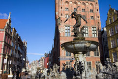 Neptune Fountain in Gdansk Stock Photo
