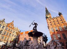 Neptune Fountain in Gdansk, Poland Royalty Free Stock Photos