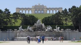 Neptune Fountain and Gloriette Structure at Schonbrunn Palace stock video footage