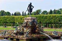 The Neptune Fountain in lower garden in Peterhof, Royalty Free Stock Image