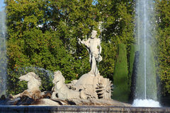 Neptune fountain in Madrid Stock Images