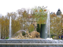 Neptune fountain in Madrid Royalty Free Stock Images