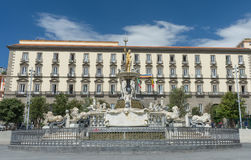 Neptune fountain in Naples- Italy Stock Photo