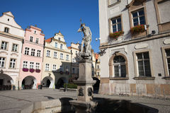 Neptune Fountain in Old Town of Jelenia Gora Royalty Free Stock Photography
