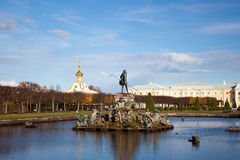 Neptune fountain in the park, Petergof Russia Stock Photos