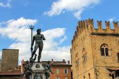 Neptune fountain in the Piazza Maggiore in Bologna Stock Photo