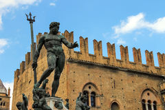 Neptune fountain in the Piazza Maggiore in Bologna Royalty Free Stock Images