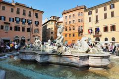 Neptune Fountain in Piazza Navona in Rome, Italy Royalty Free Stock Photography