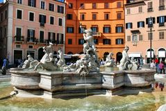 Neptune Fountain, Piazza Navova, Rome, Italy Royalty Free Stock Photos