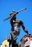 Neptune fountain with pigeon on the head in Gdansk Stock Photo
